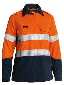 'Bisley Workwear' TenCate Tecasafe® Plus Womens Taped Two Tone Hi Vis FR Vented Long Sleeve Shirt