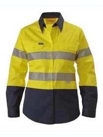 'Bisley Workwear' Ladies 3M Taped HiVis 2 Tone Long Sleeve Drill Shirt