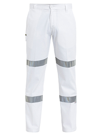 'Bisley Workwear' 3M Taped Cotton Drill White Work Pant