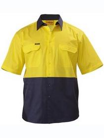 'Bisley Workwear' Cool Lightweight HiVis Short Sleeve Drill Shirt