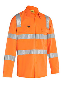 'Bisley Workwear' Taped Biomotion Cool Lightweight HiVis Long Sleeve Drill Shirt