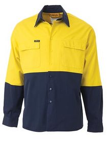 'Bisley Workwear' HiVis 2 Tone Long Sleeve Drill Shirt