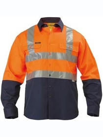 'Bisley Workwear' 3M Taped HiVis 2 Tone Long Sleeve Drill Shirt