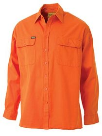 'Bisley Workwear' HiVis Long Sleeve Drill Shirt