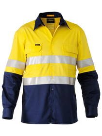 'Bisley Workwear' 3M Taped Two Tone HiVis Industrial Cool Vent Shirt