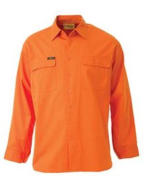 'Bisley Workwear' HiVis Cool Lightweight Long Sleeve Drill Shirt