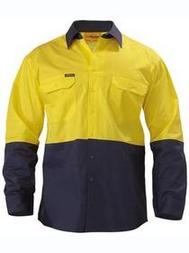 'Bisley Workwear' Cool Lightweight HiVis Long Gusset Sleeve Drill Shirt