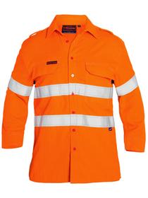 'Bisley Workwear' TenCate Tecasafe® Taped FR HiVis Light Weight Vented Long Sleeve Shirt