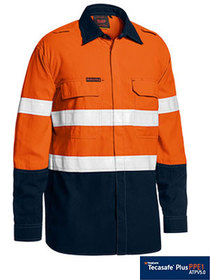 'Bisley Workwear' TenCate Tecasafe® Plus Taped 2 Tone FR HiVis Light Weight Vented Long Sleeve Shirt