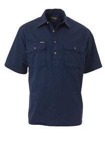 'Bisley Workwear' Closed Front Cotton Drill Short Sleeve Shirt