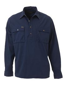 'Bisley Workwear' Closed Front Cotton Drill Long Sleeve Shirt