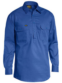 'Bisley Workwear' Closed Front Cotton Light Weight Drill Long Sleeve Shirt