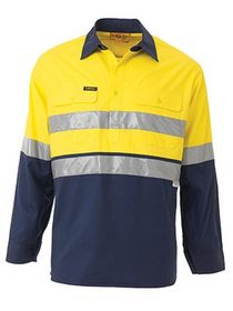 'Bisley Workwear'  3M Taped Cool Lightweight HiVis Closed Front Long Gusset Sleeve Shirt