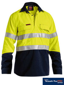 'Bisley Workwear' TenCate Tecasafe® Plus Closed Front Taped 2 Tone HiVis FR Vented Long Sleeve Shirt