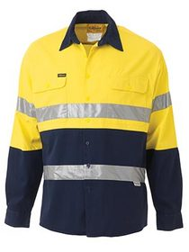 'Bisley Workwear' 3M Taped HiVis 2 Tone Long Sleeve Drill Shirt