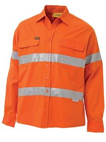 'Bisley Workwear'  3M Taped HiVis Long Sleeve Drill Shirt