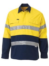 'Bisley Workwear' 3M Taped HiVis 2 Tone Closed Front Long Sleeve Drill Shirt