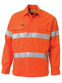 'Bisley Workwear'  3M Taped HiVis Closed Front Long Sleeve Drill Shirt