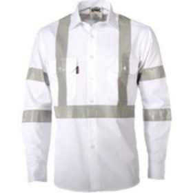 'DNC' HiVis RTA Night worker White Shirt with CRS Reflective Tape
