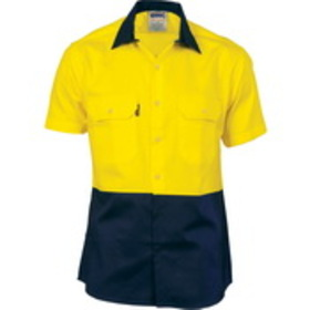'DNC' HiVis Two Tone Cool-Breeze Short Sleeve Cotton Shirt