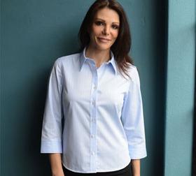 'Gloweave' Ladies Wrinkle Free Twill Pin Stripe ¾ Sleeve Shirt