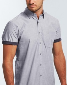 'Gloweave' Mens End on End Short Sleeve Hospitality Shirt