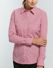 'Gloweave' Ladies Gingham Check Long Sleeve Hospitality Shirt