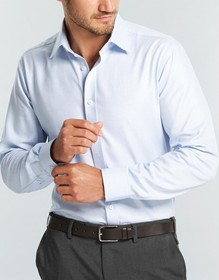 'Gloweave' Mens Micro Step Textured Plain Long Sleeve Shirt