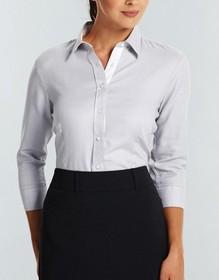 'Gloweave' Ladies Micro Step Textured Plain Long Sleeve Shirt