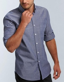 'Gloweave' Mens Spot Dobby Denim Long Sleeve Shirt