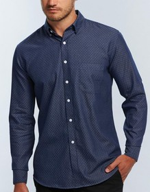 'Gloweave' Mens Polka Dot Dobby Long Sleeve Shirt