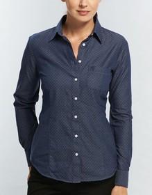 'Gloweave' Ladies Polka Dot Dobby Long Sleeve Shirt