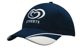 'Headwear Professionals' Brushed Heavy Cotton with Mesh Inserts on Peak