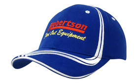 'Headwear Professionals' Brushed Heavy Cotton with Waving Stripes on Crown and Peak