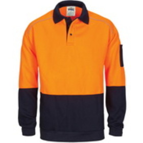 'DNC' HiVis Rugby Top Windcheater with Two Side Zipped Pockets