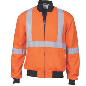'DNC' HiVis Two Tone Cotton Bomber Jacket with 'X' Back and Additional 3M Reflective Tape