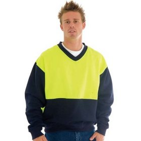 'DNC' HiVis Two Tone Fleecy Sweat Shirt (Sloppy Joe) V-Neck