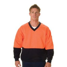 'DNC' HiVis Two Tone Cotton Fleecy V-Neck Sweat Shirt