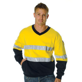 'DNC' HiVis Two Tone Cotton Fleecy V-Neck Sweat Shirt with 3M Reflective Tape
