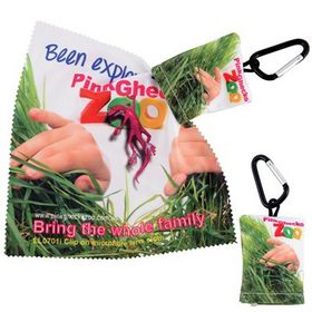'Logo-Line' Custom Superior Hi Microfibre Lens Cloth In Pouch with Carabiner