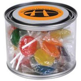 'Logo-Line' Assorted Colour Lollipops in 500ml Drum