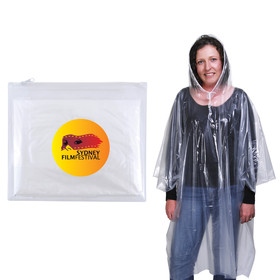 'Logo-Line' Reusable Poncho in Zipper Pouch