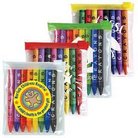 'Logo-Line' Assorted Colour Crayons In PVC Zipper Pouch