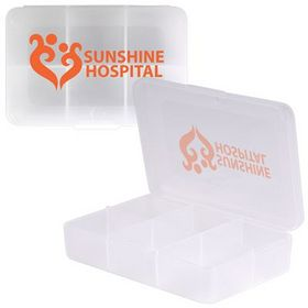 'Logo-Line' Clear Rectangular 6 Compartment Pill Box