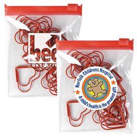 'Logo-Line' Red Heart Paperclips In PVC Zipper Pouch