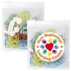 'Logo-Line' Assorted Colour House Paperclips In PVC Zipper Pouch