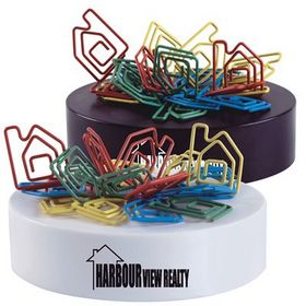 'Logo-Line' Assorted Colour House Shaped Paperclips On Paperweight Magnetic Base