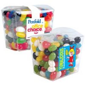 'Logo-Line' Assorted Colour Mini Jelly Beans in Clear Mini Noodle Box