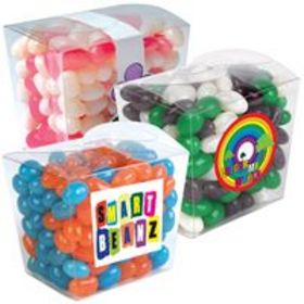 'Logo-Line'  Corporate Colour Mini Jelly Beans in Clear Mini Noodle Box
