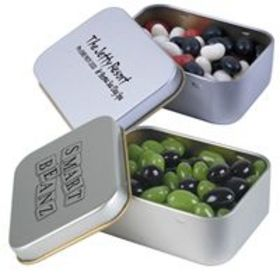 'Logo-Line' Corporate Colour Mini Jelly Beans in Silver Rectangular Tin